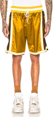 Just Don Jungle Satin Basketball Short in Gold | FWRD