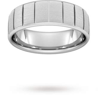 8mm Flat Court Heavy Vertical Lines Wedding Ring In 9 Carat White Gold