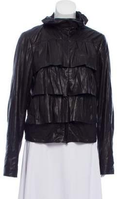 Diane von Furstenberg Cupcake Bomber Leather Jacket