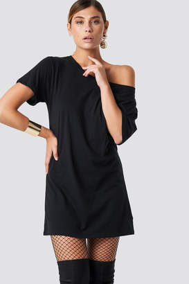 NA-KD Na Kd One Shoulder T-shirt Dress Black