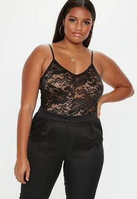 Missguided Plus Size Black Lace Cami Bodysuit