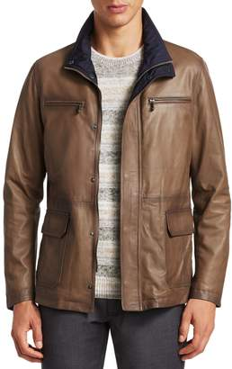 Saks Fifth Avenue Stand Collar Leather Jacket