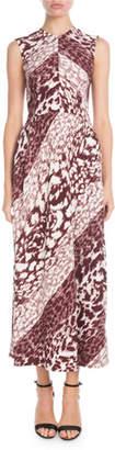 Victoria Beckham Sleeveless Leopard-Print A-Line Maxi Dress