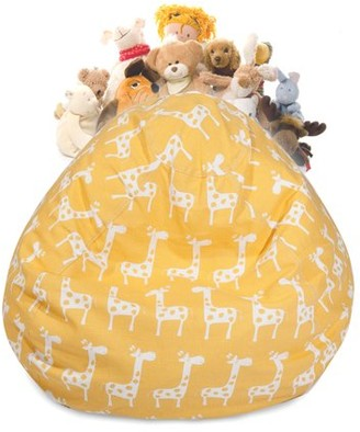 Majestic Home Goods Stretch Stuffed Animal Toy Storage Bean Bag Chair with Transparent Mesh Base