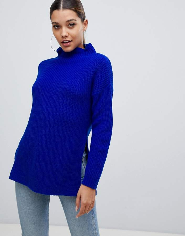 high neck jumper with side split in bright blue