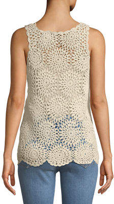 Chelsea & Theodore Crochet Scoop-Neck Tank