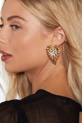 Nasty Gal Leaf It Out Rhinestone Earrings