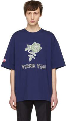 Lanvin Blue Oversized Thank You Rose T-Shirt