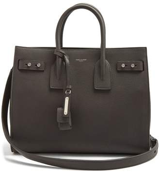 Saint Laurent Sac De Jour Small Grained Leather Tote - Womens - Dark Grey