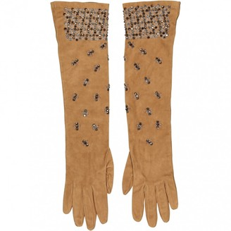 Prada Camel Suede Gloves