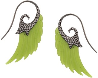 Noor Fares 18kt white gold wing jade and diamond earrings