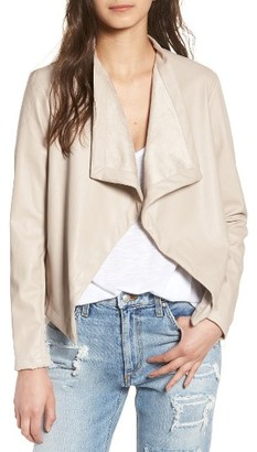 Women's Bb Dakota 'Peppin' Drape Front Faux Leather Jacket $98 thestylecure.com