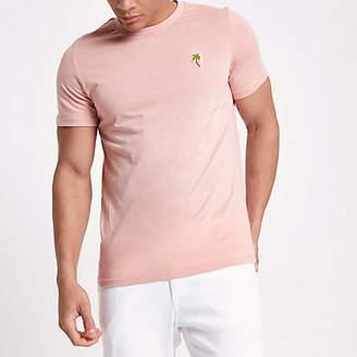 River Island Mens Jack & Jones pink palm embroidered T-shirt