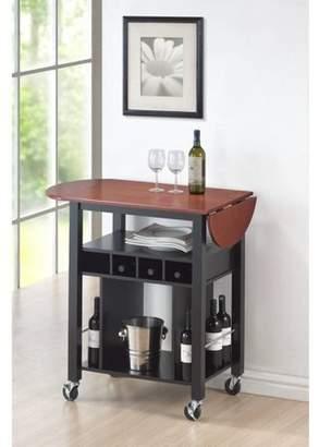 Roundhill Cherry Drop Leaf Wine Serving Cart on Wheels, Black