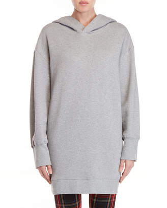 MSGM Grey Longline Fleece Hoodie