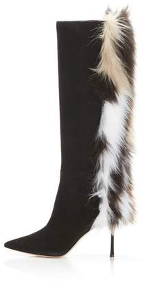 Marion Parke Mcvie | Suede Stiletto Knee High Boot With Faux Fur