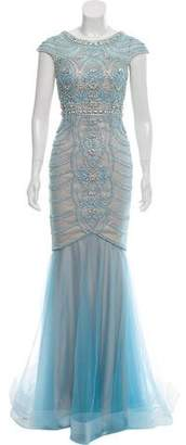 Terani Couture Embellished Cap Sleeve Evening Gown