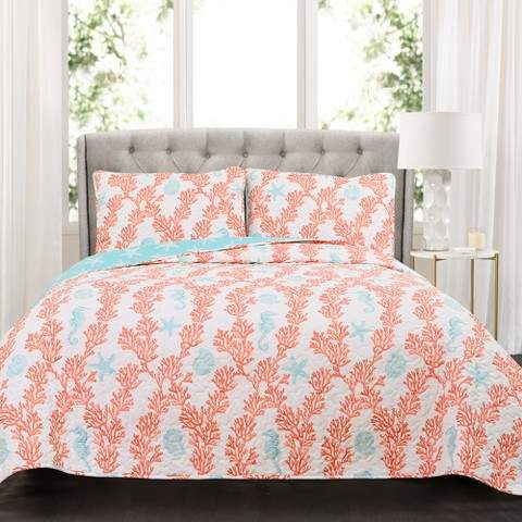 Blue Dina Coral Quilt Set