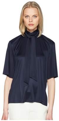 ADAM by Adam Lippes Silk Jersey Short Sleeve Blouse w/ Scarf
