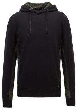 BOSS Hugo Relaxed-fit hoodie contrast camouflage panels M Black