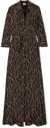 L'Agence Cameron Printed Silk Crepe De Chine Maxi Dress - Black