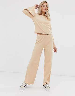 Pieces lounge travel wide leg trousers co-ord
