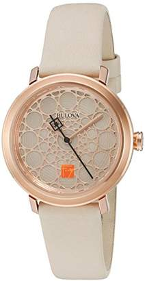 Bulova Women's Quartz Stainless Steel and Leather Dress Watch, Color:White (Model: 98L216) $90 thestylecure.com
