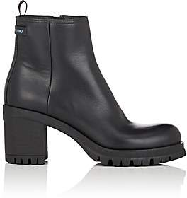 Prada Women's Lug-Sole Leather Ankle Boots-Nero