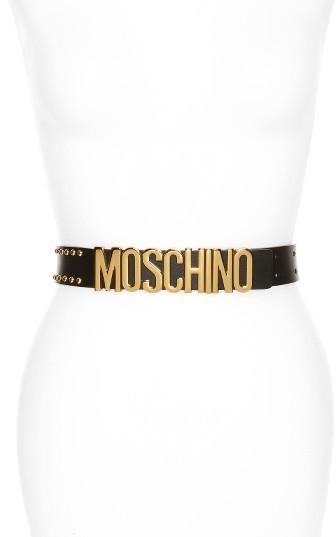 MoschinoWomen's Moschino Logo Plate Studded Leather Belt