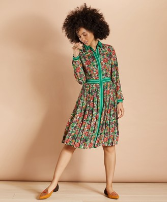 Brooks Brothers Floral-Print Crepe Pleated Shirt Dress