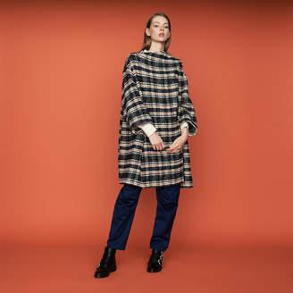 Maje Poncho-style coat in tartan
