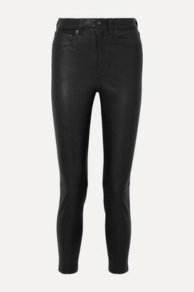 Rag & Bone Nina Cropped Leather Skinny Pants - Black
