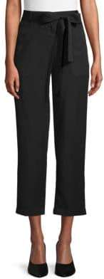 Saks Fifth Avenue BLACK Belted Cropped Pants