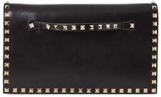 Valentino Black Rockstud Leather Convertible Wristlet