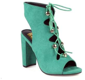 Fahrenheit Lace up High Heel Sandals in Green