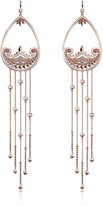 Thomas Sabo Rose Gold Plated Sterling Silver Paisley Extra Long Pendant Earrings w/ White Zirconia
