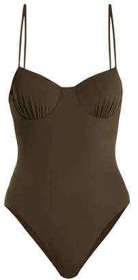 Dos Gardenias - Love Button Underwired Swimsuit - Womens - Dark Khaki