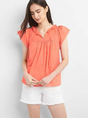 Gap Short Sleeve Smock Top in Clip Dot