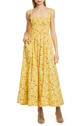 Polo Ralph Lauren Floral Smocked Detail Maxi Cotton Sundress