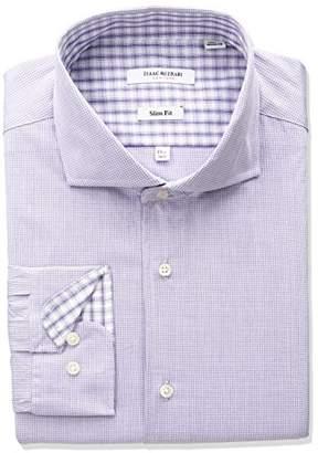 Isaac Mizrahi Men's Slim Fit Micro Check Cut Away Collar Dress Shirt