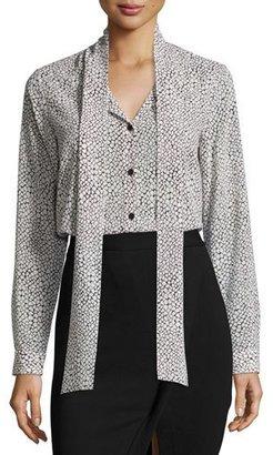 MICHAEL Michael Kors Tie-Neck Graphic Scale-Print Silk Blouse, Cream $195 thestylecure.com