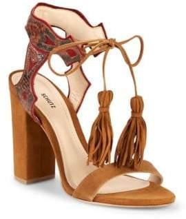 Schutz Hilda Tassel-Tie Leather & Suede Sandals