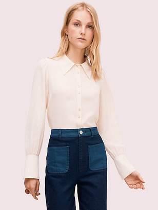 Kate Spade Silk Point Collar Blouse, Pastel Parchment - Size XL
