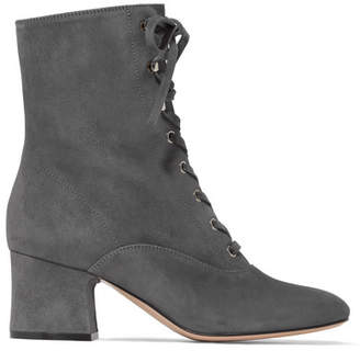 Lace-up Suede Boots - Gray