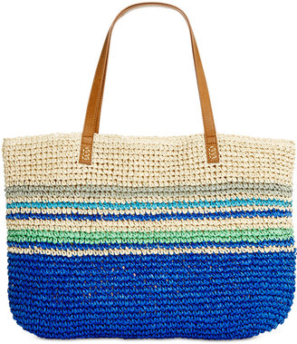 Style & Co Stripe Straw Beach Bag Tote, Only at Macy's $48.50 thestylecure.com