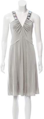 Alberta Ferretti Embellished V-neck Dress