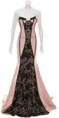 John Paul Ataker Embellished High-Low Gown w/ Tags