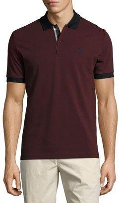 Burberry Haywood Check-Placket Cotton Pique Polo Shirt, Wine $195 thestylecure.com