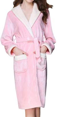 LAPAYA Women's Long Bathrobe Microfleece Fluffy Shawl Collar Warm Spa Plush Robe