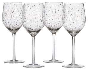 Mikasa Lustre Dots Platinum Wine Glasses Set of 4